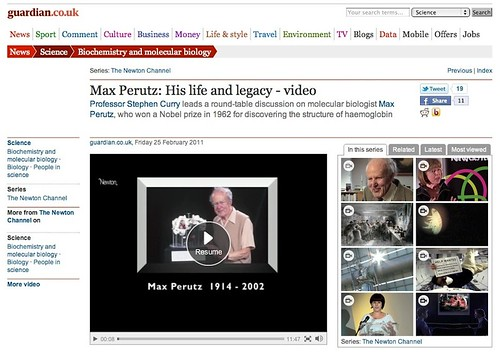 Guardian website: NewtonTV video on Max Perutz