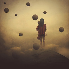 saying goodbye (brookeshaden) Tags: mountain broken girl rock clouds balls orbs lifeless brookeshaden texturebylesbrumes
