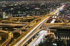 Urban Connection (spiraldelight) Tags: cityscape sigma junction  osaka foveon lighttrail lightstream jct traffictrail expressways    dp2s sigmadp2s fromhigashiosakacityhall