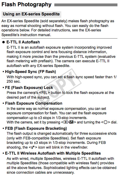 Camera settings and how to use Canon EX-Series flash units, described in the Canon 1Ds Mark III Manual