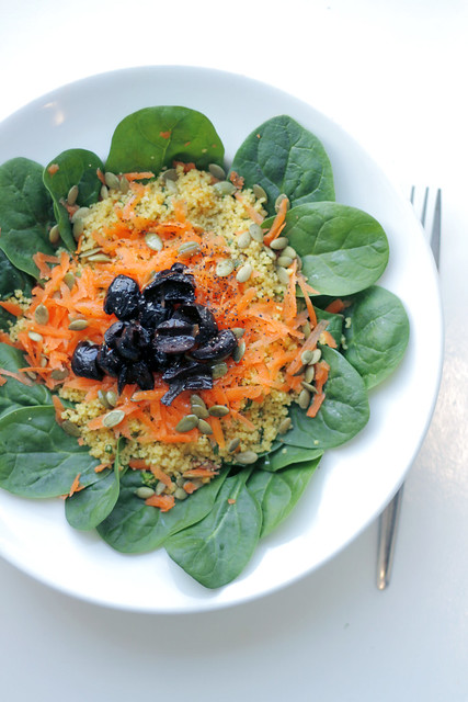 Spinach, Carrots and Black Olives Couscous