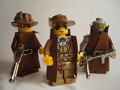 Theres a new sherrif in town. (Chaplinaustin) Tags: hat gun post lego mask mashup tommy steam deputy chrome 1950s scifi sheriff revolver custom steampunk apoc mp40 brickarms mmcb