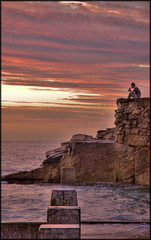 Cereal with a view (onemadgooner) Tags: ocean sea man water breakfast canon landscape person eos golden cereal sydney scenic australia hour getty hdr 50d coogeesunrise