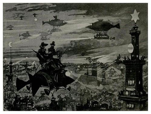 009-Paris en la noche-Le Vingtième Siècle 1883- Albert Robida
