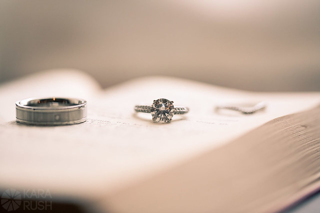 wedding ring shot open book