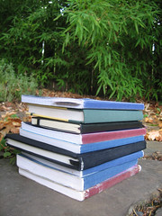 My writing notebook stack as of 2010 -- now higher