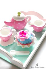 Time for Tea (Little Cottage Cupcakes) Tags: pink blue flower toy cupcakes felt teapot teacup teaset hotpink littlecottagecupcakes
