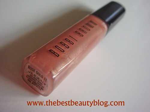 Bobbi Brown lipgloss, rose gold shimmer gloss