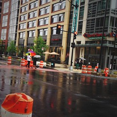 5/7/14 Umbrellas (Karol A Olson) Tags: street trafficlights rain walking dc washington pedestrians umbrellas noma may14 constructionbarrels project3652014 mdpd2014