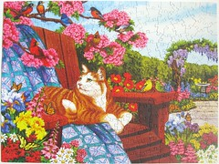 Spring Fling (Nancy Wernersbach) (Leonisha) Tags: puzzle jigsawpuzzle chat cat katze flowers blumen