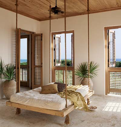bed hanging from ropes, outdoor spaces, outdoor bedrooms, sun room, platform bed, hanging bed