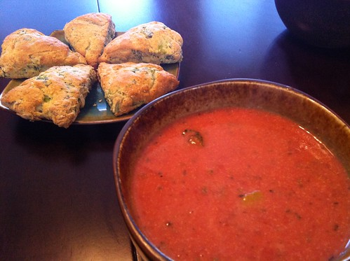 Tomato soup with veggie scones