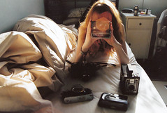 (emilyharriet) Tags: film me 35mm polaroid bed pentax cameras