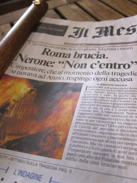 Rome is burning. Nero declines any responsibility