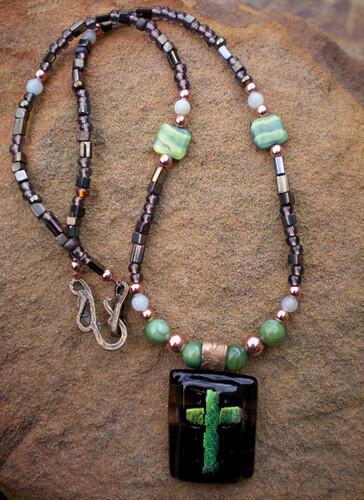 Amazonite & Malachite Dichroic Cross Necklace