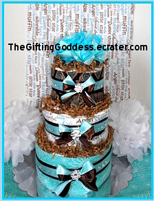 A Touch of Teal Diaper Cake - Shower Gift For A Baby Boy
