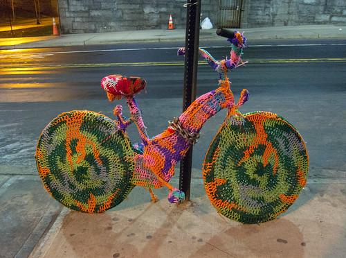 Crocheted Bike by Olek Under The Brooklyn Bridge