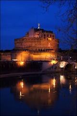 Castel Sant'Angelo blu (Pietro Lama (Italia)) Tags: light roma italia fiume ponte tevere angelo noname acqua riflessi statua notte adriano castelsantangelo lazio riflesso mausoleo blackandblue haphazartblue lucibruciate