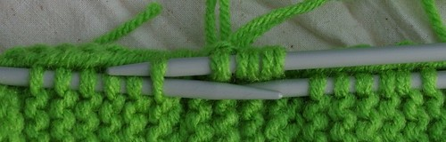 Green size 8 needles doubled WW RHSS Body top 3 st wrkd pu and knitting st from side