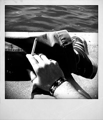black and white lakeside cigarette (halfvoid) Tags: john strine