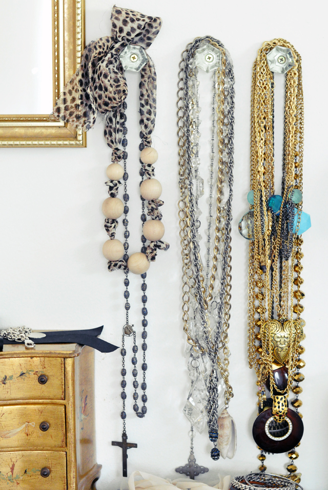 necklaces hanging + gold + silver