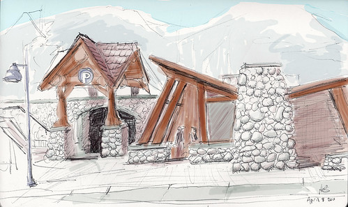 A couple sketches of Whistler Creekside from today.