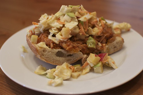 Pulled Pork with Apple Slaw on Homemade Baguette