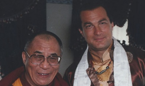 The Dalai Lama (L) and Steven Seagal (R)
