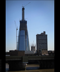 Three Towers (peterphotographic) Tags: city uk england urban building london thames architecture skyscraper cityscape britain crane riverthames southwarkcathedral threetowers theshard canong12