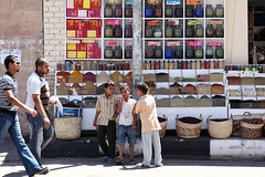 People and spice shop in Aswan, Egypt (inchiki tour) Tags: africa street travel people photo market egypt picture middleeast spices arab egyptian souk aswan  nubia  nubian assuan