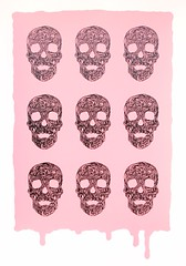 Swirly Skulls on Pink (screenprint) (Wayne Chisnall) Tags: skulls screenprint artists prints chisnell deathhead chig skullart waynechisnall buyprints chisnall swirlyskull swirlyskulls