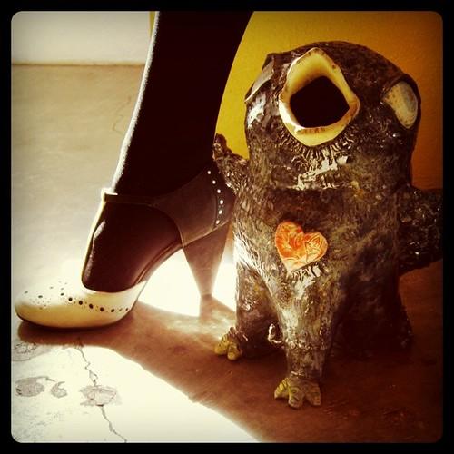 the song for a great shoe  bird  art  shoe  folkart  albuquerque  ceramic