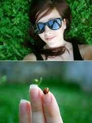 Green is my colour. Forever. (Leavethelies) Tags: summer grass sunglasses myself ladybird ladybug cheerful lying