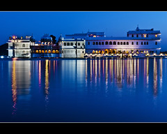 Blue Explosion... (PNike (Prashanth Naik..back after ages)) Tags: blue india lake reflection water lights hotel nikon king arts culture palace bluehour rajasthan udaipur pichola pnike