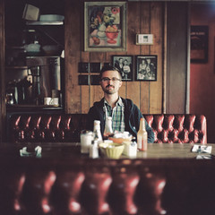 Andy J. Scott (laurenlemon) Tags: portrait 6x6 film rolleiflex mediumformat diner 120film echopark expired britespot march11 laurenrandolph laurenlemon andyjscott wwwphotolaurencom