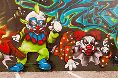 Killer Klowns (Viajante) Tags: wall austin us mural texas unitedstates clown killerklownsfromouterspace