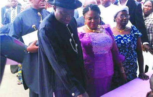 Federal Republic of Nigeria President Goodluck Jonathan with his wife Patience during the national elections on April 16, 2011. Africa's most populous country went to the polls in great numbers. by Pan-African News Wire File Photos