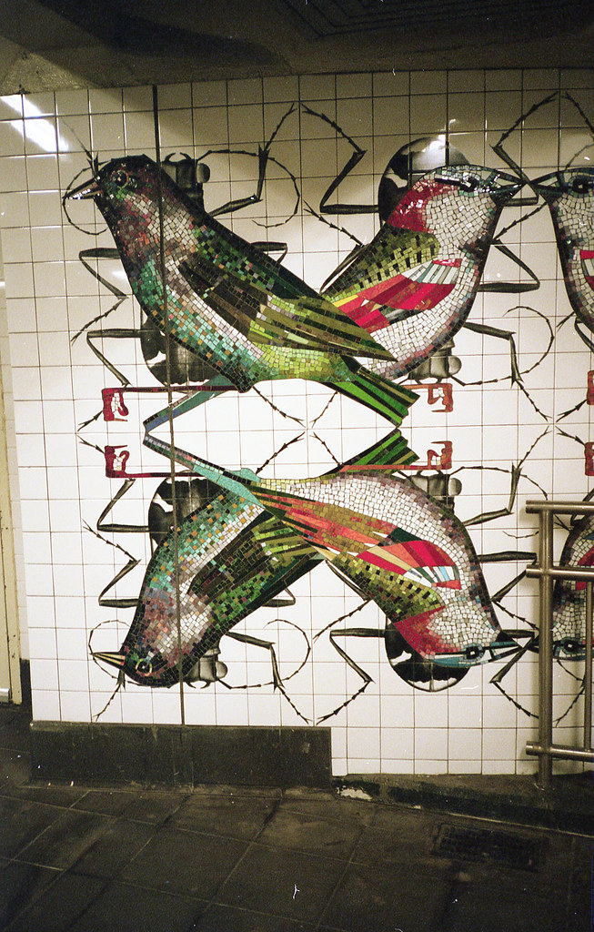 bird mosaic, nyc subway.