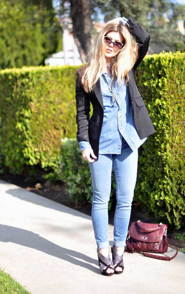 William Rast jeans + Denim Shirt + Black Blazer + Nicholas Kirkwood + Chloe