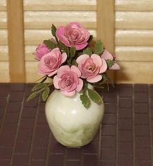 Pink Roses in Ceramic Vase