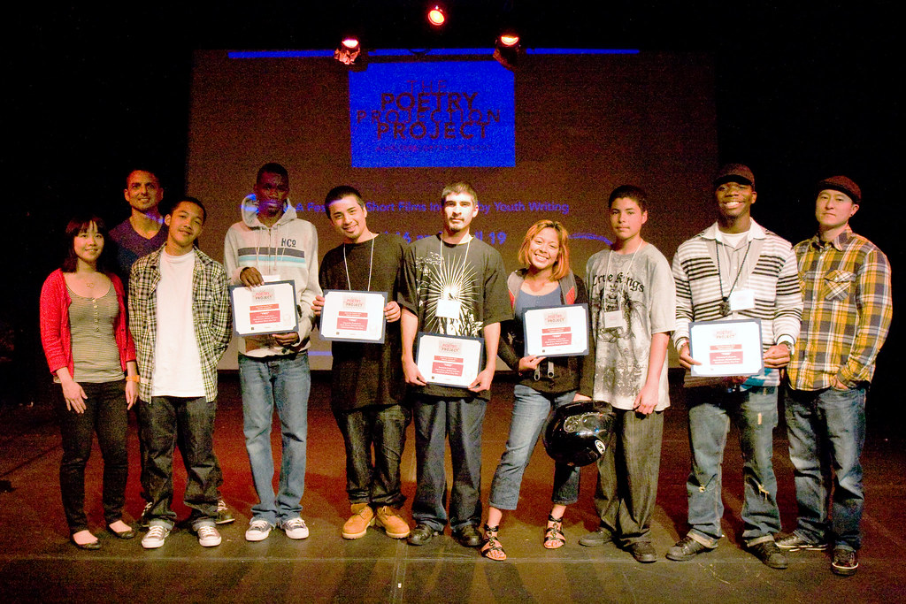 Young filmmakers with Peter Bratt (left,back), WritersCorps manager Melissa Hung (left) and their teacher Peter Kim of Streetside Productions (right) at the 2011 festival. Photo by Lydia Gonzales.