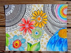WaterDoodle6 (A-dab-adu) Tags: flowers draw watercolorpencils zentangle blackpermanentmarker