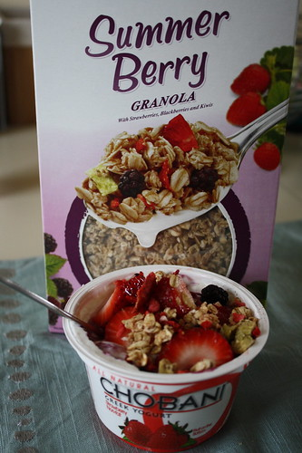 Summer Berry Kashi Granola; Chobani strawberry yogurt