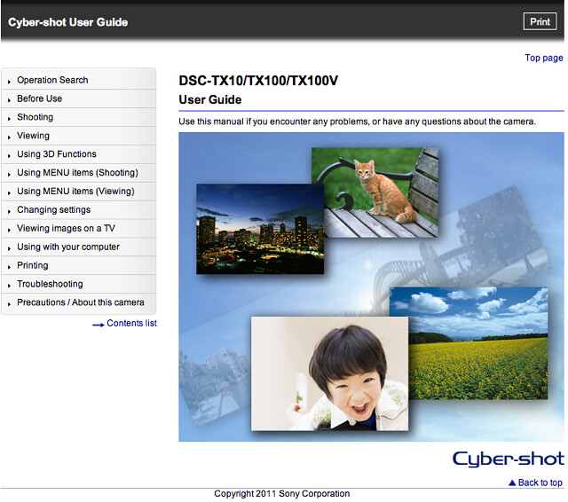 Sony TX10 Cyber-shot User Guide / Handbook (Advanced, Online Version)