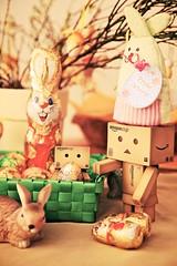 The Danbos and some easter eggs.. (generalstussner) Tags: rabbit bunny canon easter cozy chocolate egg full ii eggs 5d adventures fullframe 24105 danbo ef24105l ef24105f4lisusm revoltech danbos danboard 5dmarkii