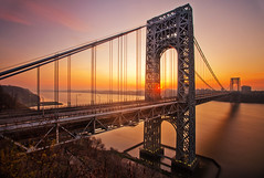 The George Washington Bridge at Sunrise (chris lazzery) Tags: newyorkcity longexposure newyork sunrise newjersey fortlee georgewashingtonbridge canonef1740mmf4l 5dmarkii bw30nd