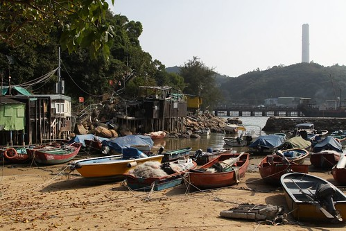 Boats and fishermens huts on Lamma Island
