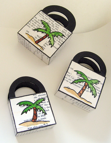 Decoupage ship baskets (palm tree side)
