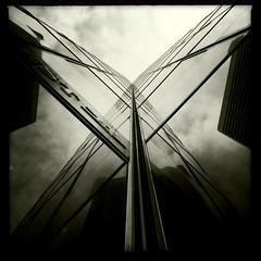 Another Walk (Jeremy Brooks) Tags: sanfrancisco california blackandwhite bw usa abstract reflection building architecture blackwhite fav50 explore blogged marketstreet iphone fav10 sanfranciscocounty 444marketstreet fav25 fav100 444market 1frontstreet 1front mostly365 hipstamatic