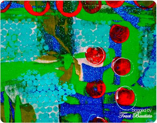 paint through sequin waste on muslin